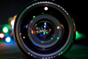 Camera Lens with bokeh (with text)