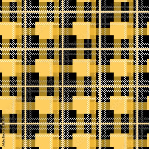 ee678536c4 Scottish pattern tartan plaid in orange, black and yellow cage. Traditional  Scottish checkered background