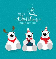 vector illustration.Christmas greeting card with cute polar bear.