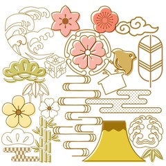 Japanese icons template vector. Cherry blossom flower, Fuji mountain, wave elements background.