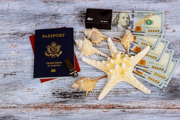 Dollar with passport and Money saving and travel holiday concept