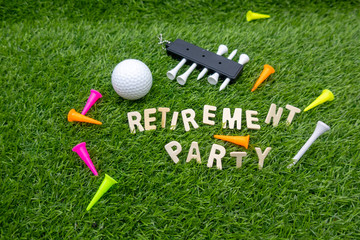 Golf retirement party invitation with golf ball and tees on green grass