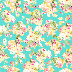 Seamless, Watercolor Flower Background Patterns. Floral Background