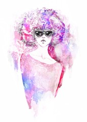 hipster girl with sunglasses. Hand painted fashion illustration . fall trends. fashion trends. Fashion illustration.