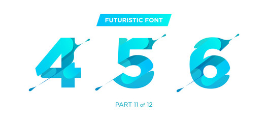 Vector Unique Futuristic Numbers. Decorative Headline Typeface. Trendy Paper Cut Style. Clean Geometric Shape. Gradient Font for Advertising, Unique Marketing Materials, Creative Promotion Poster.