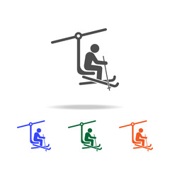 ski lift with man icon. Elements of Christmas holidays in multi colored icons. Premium quality graphic design icon. Simple icon for websites, web design, mobile app
