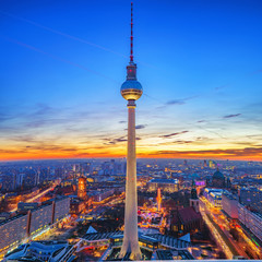 Wall Mural - Aerial view on Alexanderplatz and Berlin city at sunset, Berlin, Germany
