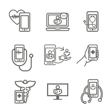 Telemedicine abstract idea with icons illustrating remote health and software