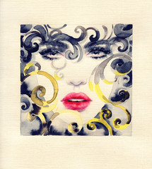 Poster de jardin Portrait Aquarelle golden cage. beautiful woman. fashion illustration. watercolor painting