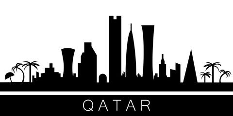 Qatar detailed skyline. Vector postcard illustration