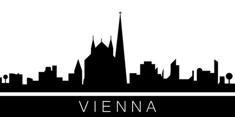 Vienna detailed skyline. Vector postcard illustration
