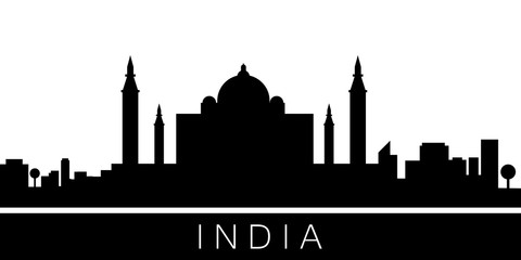 India detailed skyline. Vector postcard illustration