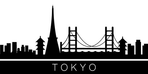 Tokyo detailed skyline. Vector postcard illustration