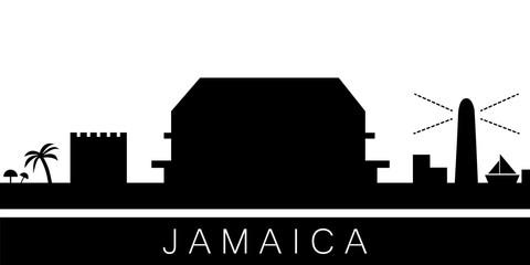 Jamaica detailed skyline. Vector postcard illustration