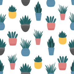 Indoor home plants in ceramic pots seamless pattern. Vector background, cute Scandinavian flat cartoon style. Potted flowers and sprouts colourful design