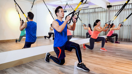 Upper body exercise TRX concept.
