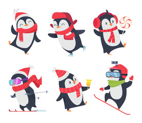Cute penguins. Cartoon characters baby sweet wild winter snow animals pose vector isolated. Arctic happy penguin on skiing and with lollipop illustration