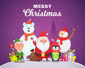 Holiday winter background. Christmas characters santa penguin white arctic bear character snow wildlife animals in cartoon style vector. Illustration of santa character greeting merry christmas