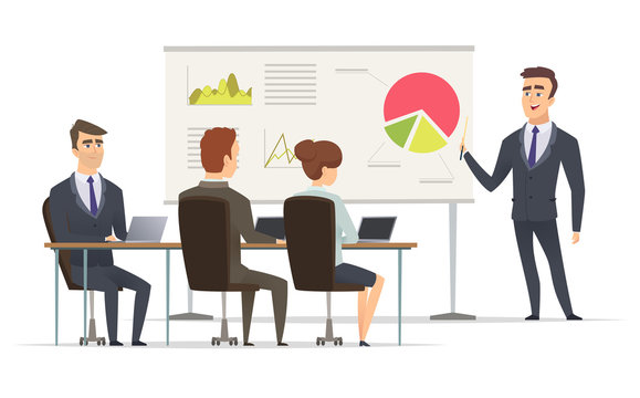 Business lesson. Teacher Manager learning on lecture office presentation concept marketing plan on whiteboard vector meeting peoples. Office lesson business people, illustration presentation seminar