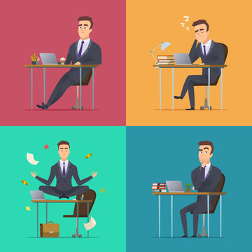 Businessman scenes. Office manager or director various poses sitting desk works sleeping meditates thinking wor routine vector concept. Illustration of business person sleep and work