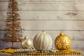 Christmas decorations on light wooden background. With Copy Space