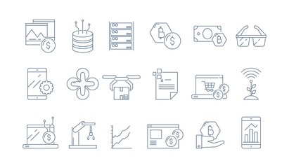High tech technology icon. Modern business software headset advanced engineering augmented reality vector thin outline symbols. Illustration of digital innovation technology