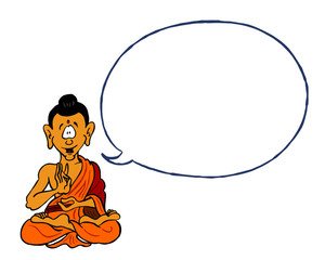 Illustration of Buddha with open dialogue bubble