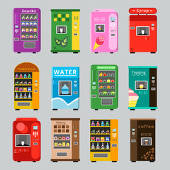 Vending machines collcetion. Merchandise concept with automatic selling various snacks water coffee and crisp food vector pictures. Illustration of retail vending machine with snack food