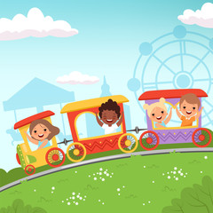 Roller coaster kids. Attraction children riding in amusement park vector cartoon action background. Illustration of recreation in park