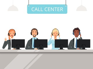 Call center characters. Business customer service agents operator in headset sitting front laptop computers vector characters. Illustration of support center call, service help operators man and woman