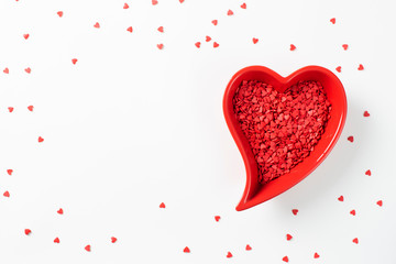 Valentines day card with red heart decoration