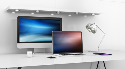 Computer and devices on modern white desk interior 3D rendering
