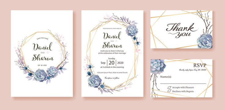 Beautiful greenery wedding invitation, save the date, thank you, rsvp card Design template on white background. Vector.Succulent plant.