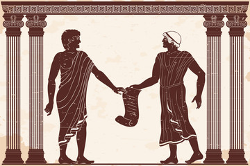 Two men are talking in ancient Greek court with papyrus in their hands. Figure on a beige background with the aging effect.