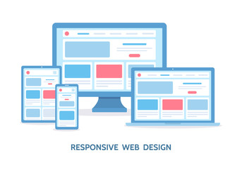 Responsive web design. The website is open on computer, laptop, tablet and smartphone. Flat vector illustration.