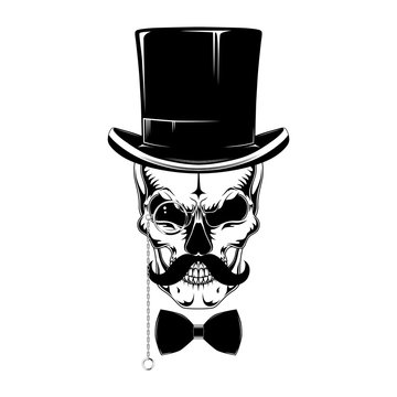 Skull in a hat-cylinder with a mustache, pince-nez, bow tie.