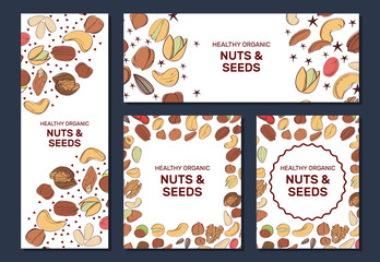 Card templates with cartoon colorful nuts and seeds. Set of AD-cards.