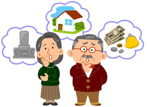 シニアの夫婦 老後の不安 中高年 全身