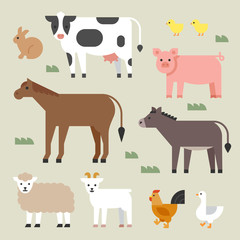 farm animals set. flat design style vector graphic illustration.