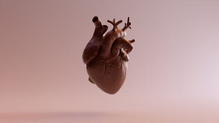 Chocolate Colored Anatomical Heart 3d illustration 3d render