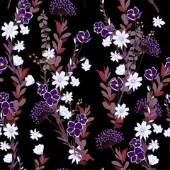Dark night in the garden Wild meadow flower Seamless Pattern colorful wind blow floral,  Isolated on black color. Botanical Floral Decoration Texture.