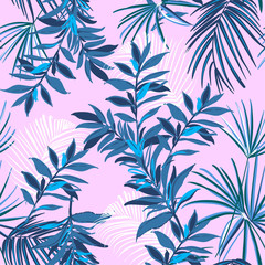 Summer monotone blueTropical seamless pattern with exotic palm leaves forest .