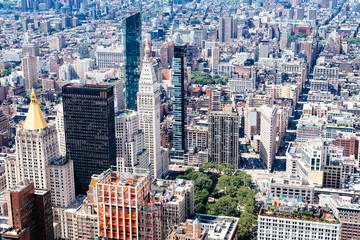 Aerial view of buildings of Midwtown of Manhattan in New York