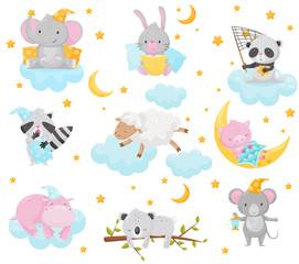 Cute little animals sleeping under a starry sky set, lovely elephant, bunny, panda, raccoon, sheep, piglet, hippo sleeping on clouds, good night design element, sweet dreams vector Illustration