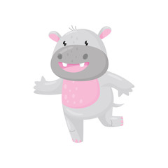 Cute smiling adorable hippo, lovely behemoth animal cartoon character vector Illustration