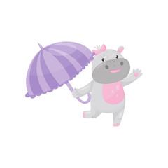 Cute adorable hippo walking with umbrella, lovely behemoth animal cartoon character vector Illustration
