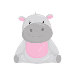 Cute adorable hippo sitting on the floor, lovely behemoth animal cartoon character vector Illustration