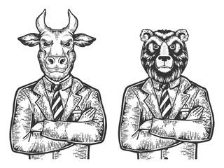 Bull and Bear head stock exchange worker businessmean engraving vector illustration. Scratch board style imitation. Black and white hand drawn image.