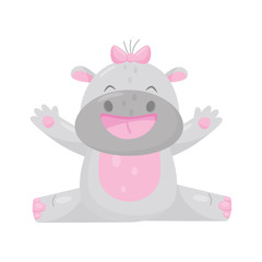 Cute adorable smiling hippo with a pink bow, lovely behemoth animal cartoon character vector Illustration