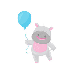 Cute smiling hippo with a blue balloon, lovely behemoth animal cartoon character vector Illustration
